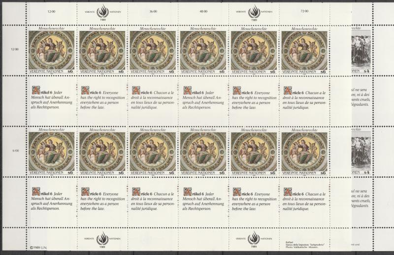 United Nations Vienna #95-6 MNH Panes Of 12 CV $15.00 (A4510L)