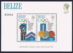 Belize 469-470,MNH.Michel Bl.12-13. Olympics Lake Placid-1980.Torch,Medals