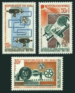Mali 74-76,MNH.Michel 105-107. ITU Centenary,1965.Communication equipment.
