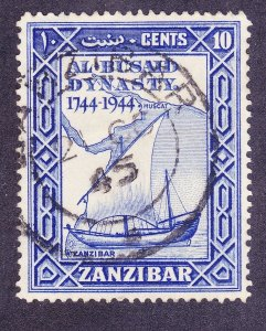 Zanzibar 218 Used 1944 10c Violet Blue Dhow & Map Issue Very Fine