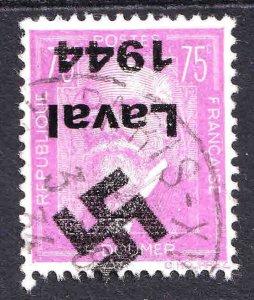 FRANCE 292 LAVAL 1944 INVERTED OVERPRINT CDS VF SOUND