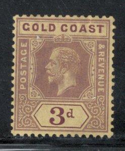 Gold Coast 1915 King George V 3p Scott # 73 MH