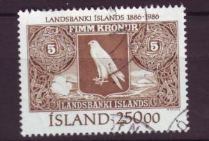 J3302 JL stamps 1986 iceland used #627 $10.00v banknote