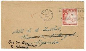 Malta 1957 Valletta cancel on cover to UGANDA, re-directed to S. RHODESIA