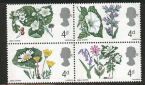 Great Britain Scott 491a MNH** 1967 Flower stamp block