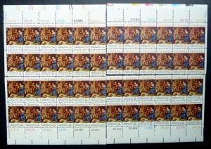 #1444 Christmas Matched Set of 4 Plate Blocks 33178-82 VF NH