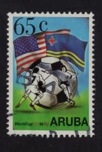 Aruba   #107  1994   used  world cup football   soccer  65c