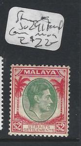 MALAYA STRAITS SETTLEMENTS  (P0502B)  KGVI  $2.00  SG 241  FOXED  CORNER MOG