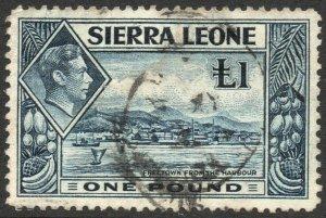 SIERRA LEONE-1938 £1 Deep Blue Sg 200 GOOD USED V46336