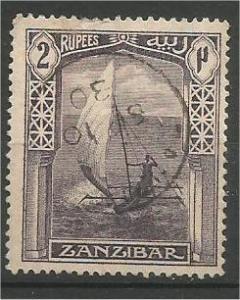 ZANZIBAR, 1921, used 2r, Dhow Scott 171