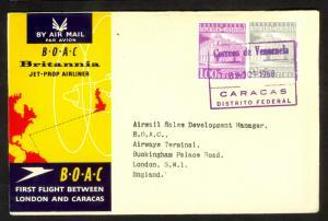 VENEZUELA 1958 BOAC Cachet FFC CARACAS to LONDON ENGLAND Cover