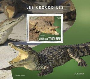 TOGO - 2019 - Crocodiles - Perf Souv Sheet - MNH