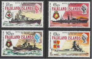 Falkland Is. #237-40 MNH set Battleships
