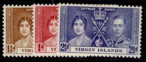BRITISH VIRGIN ISLANDS GVI SG107-109, CORONATION set, M MINT.