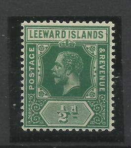 Leeward Is, 1912 Sg 47A, 1/2d Deep Green, Lightly Mounted Mint {C/W 337}.