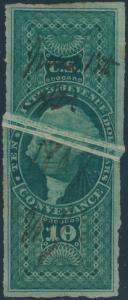 #R94 VAR. USED 10¢ CONVEYANCE W/ PRE-PRINT PAPER FOLD ERROR BP4126