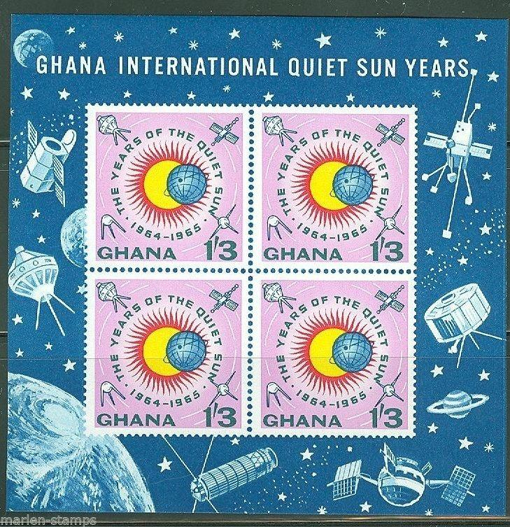 GHANA  IMPERFORATED SOUVENIR SHEET QUIET SUN YEAR SCOTT#166a  MINT NEVER HINGED