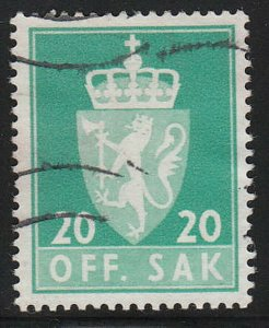 Stamp Norway Official Sc O068 1955 Dienst Coat Arms Used