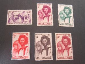 French Mauritania 1938 Sc 99,102.105-8 MH
