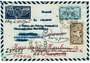 Indochina 1947 Saigon cancel on airmail cover to EGYPT, re-directed to France