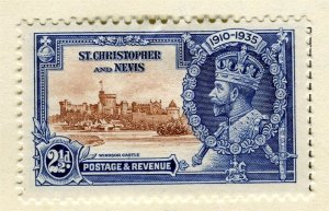 ST. KITTS; 1935 early GV Jubilee issue Mint hinged 2.5d. value
