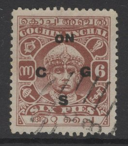 INDIA-COCHIN SGO48 1938 6p RED-BROWN p11 USED