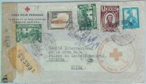 89610 - PERU - POSTAL HISTORY -  REGISTERED COVER to SWITZERLAND 1944 Red Cross