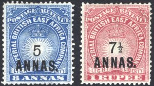 KUT-BEA 1894 5a&7.5a OPTs Light&Liberty SG 27-28 Sc 36-37 LMM/MLH Cat £150($200)
