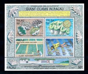 [56594] Palau 1991 Marine life Giant clams Diving Mariculture MNH Sheet