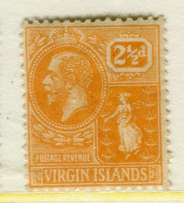 BRITISH VIRGIN ISLANDS; 1920s early GV issue fine Mint hinged 2.5d. value