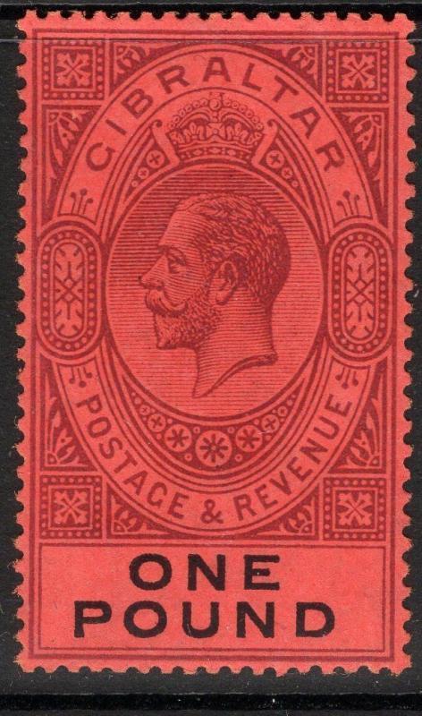 GIBRALTAR SG85 1912 £1 DULL PURPLE & BLACK/RED MTD MINT