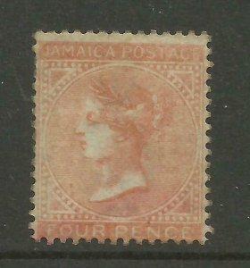 JAMAICA 1860/70 Sg 4, 4d Brown Orange, Average Mounted Mint, no gum. {B9-65}