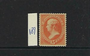 US #189  1879 15C (WEBSTER) -RED ORANGE- PERF 12 - MINT HINGED