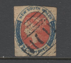 New South Wales SG 103 used. 1856 (6p) salmon & indigo imperf Registry, sm thin