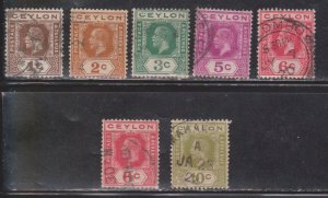 CEYLON Scott # 200-5, 204a Used - KGV Definitives