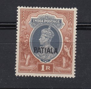 J28367,1942-7 india convention states patiala mh #115 king ovpt