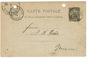 Benin 1899 Porto Novo cancels on postal card to Germany, Cotonou transit cancel