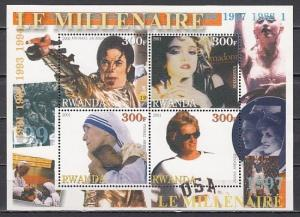 Rwanda, 2001 issue. 90`s sheet. Mother Teresa, Diana, M. Jackson. ^