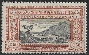 ITALY 1923 50c Alessandro Manzoni Lake Como Pictorial Sc 168 MH