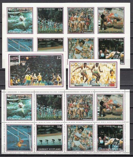 Gairsay, 1984 Scotland Local. L.A. Olympics, Perf & Imperf sheets & s/sheets