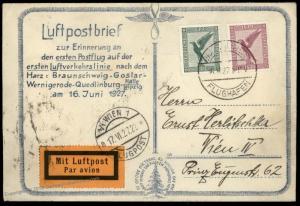 Germany 1927 First Flight Braunschweig- Halle Wien Vienna Airmail Cover 85715