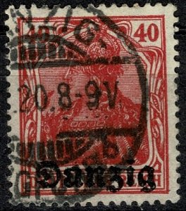 GERMANY DANZIG 1920 40pf CARMINE GERMAN Optd DANZIG USED  P.14 SG 6 XF