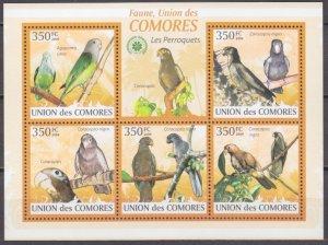 2009 Comoro Islands 2387-91KL Parrots 9,00 €