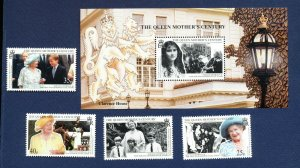SOUTH GEORGIA - # 231-235 - MNH set & S/S  - Queen Mother 100th Birthday 1999