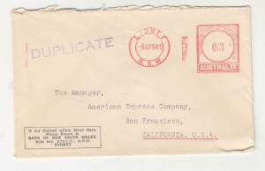 AUSTRALIA, 1941 Bank NSW cover, Meter 3d., Duplicate, Sydney to USA.
