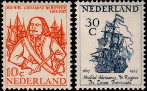 ✔️ NETHERLANDS 1957 - ADMIRAL DE RUYTER SAILING SHIP - NVPH 693/694 ** MNH OG