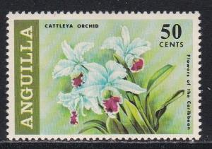 Anguilla # 73, Flowers, High Value, Hinged, 1/3 Cat.