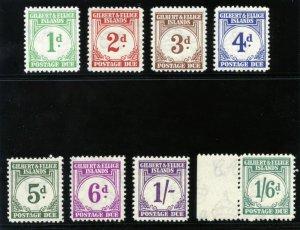 Gilbert & Ellice Is 1940 KGVI Postage Due set complete MNH. SG D1-D8. Sc J1-J8.