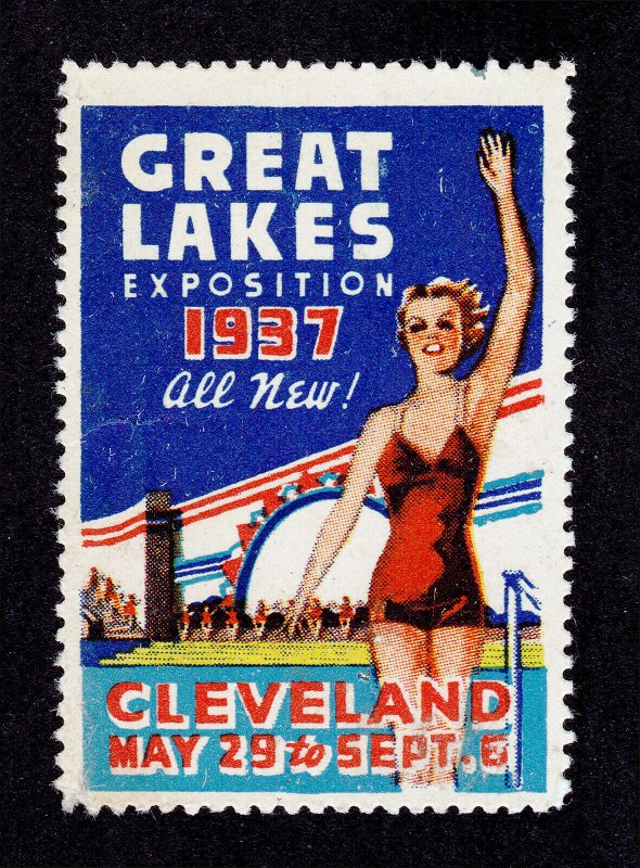 POSTER STAMP GREAT LAKES EXPOSITION CLEVELAND OH 1937 MH