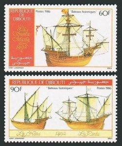 Djibouti 614-615,MNH.Michel 465-466. Columbus Fleet,986.1Santa Maria,Nina,Pinta.